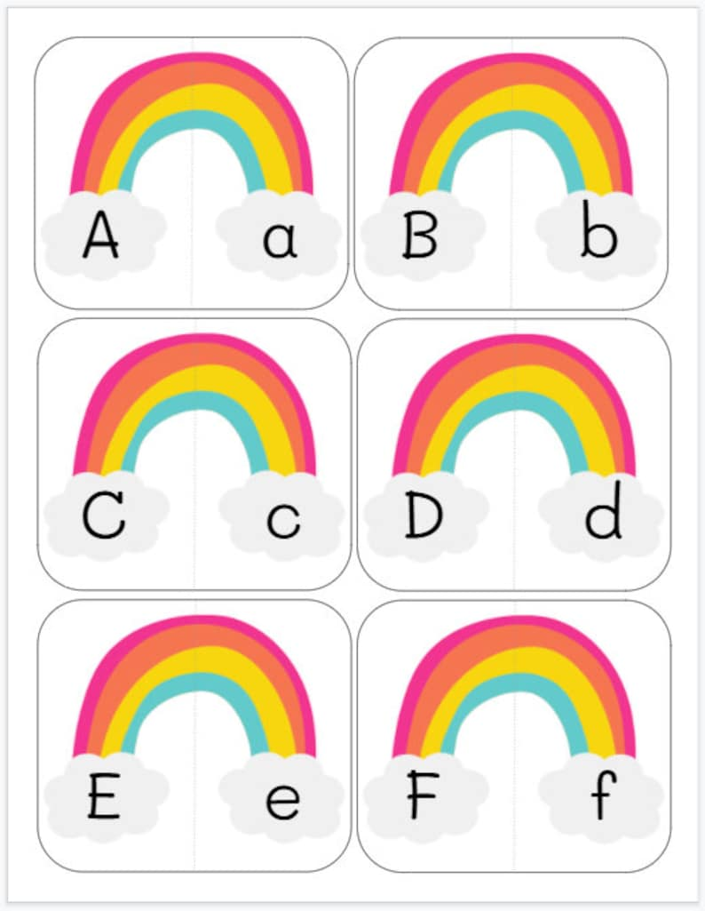 Busy Bag Learning Activity Preschool Toddler Kindergarten St Saint Patrick/'s Day Letter Alphabet Matching Cards Rainbow Pairs