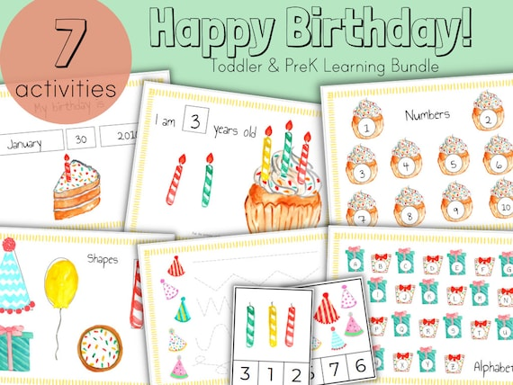BIRTHDAY Busy Book Binder Bundle  Letter & Number Matching