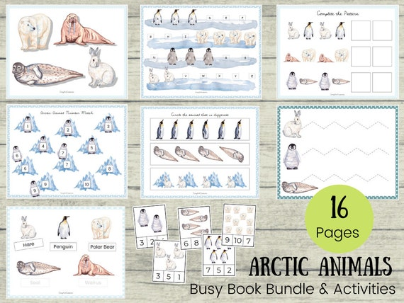 Arctic Animal BUNDLE Busy Book Binder  Tracing Counting