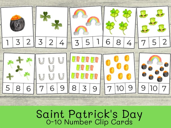 Saint St. Patrick's Day Number Clip Counting Cards  0-10
