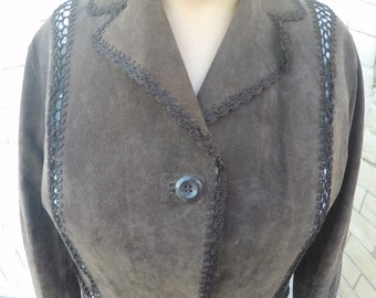 60's Vintage Brown Leather Jacket w/Stiching
