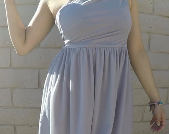 One-Shoulder Grey Dress
