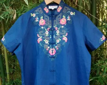SALE! China Blue: Hand-Embroidered Plus-Size Blouse