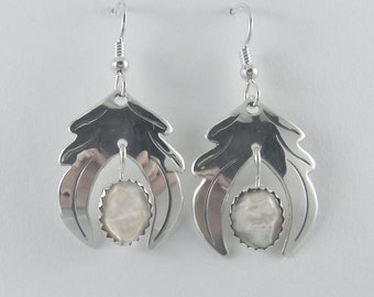 5e464d77a J Pool Custom Design Collection Handmade Abalone Shell and Stylized Sterling  Silver Earrings