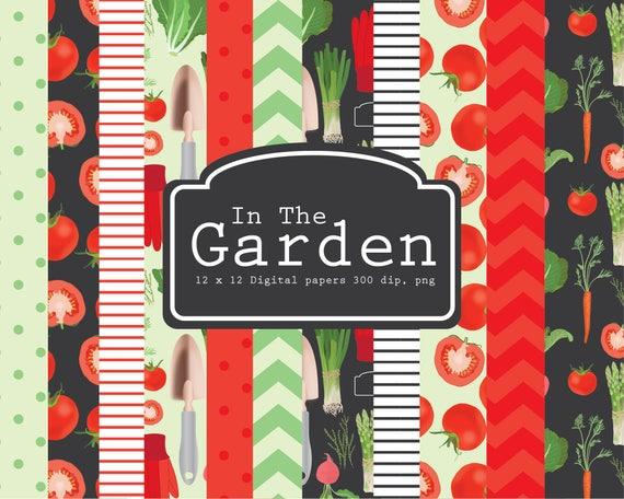 Vegetable Garden Digital Paper Gardening Garden Tools Etsy