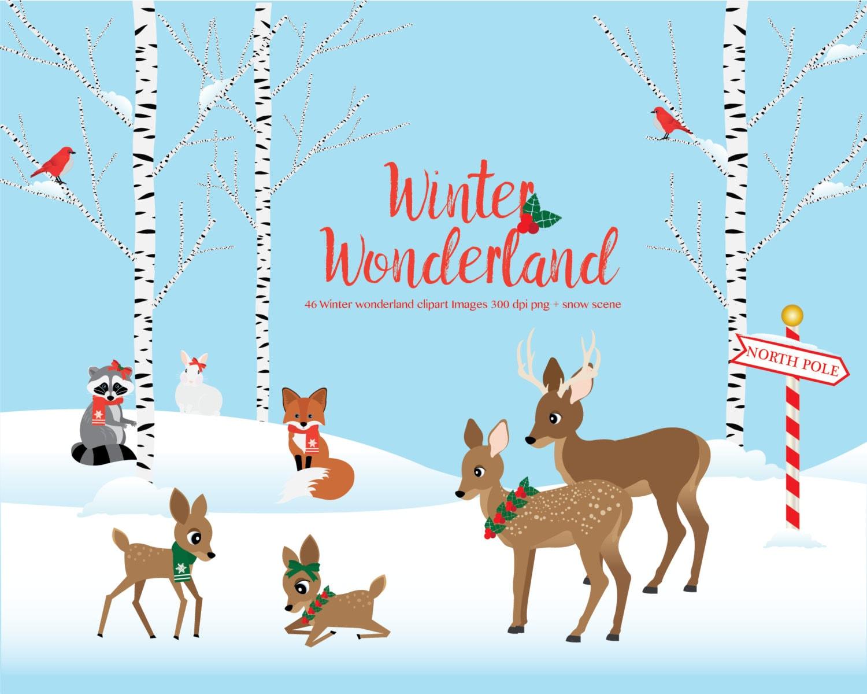 Winter Wonderland Clipart Woodland Animals Winter Scene