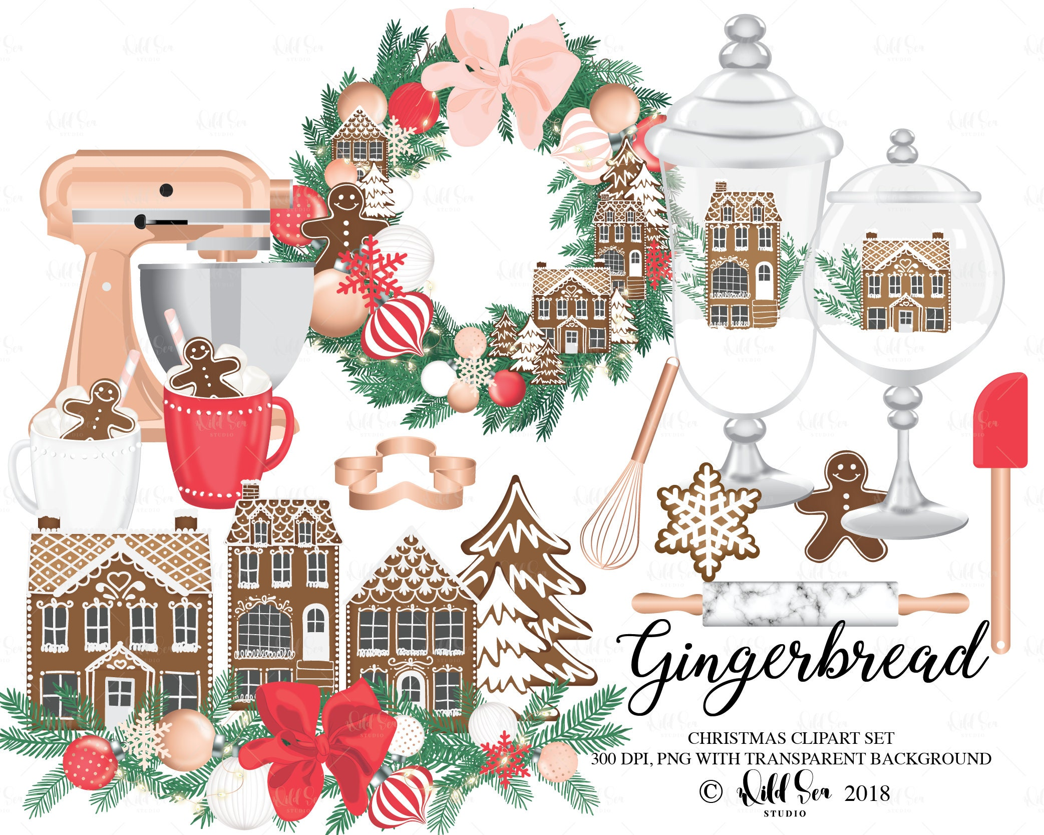 Gingerbread Christmas Clipart Image set png 300 dpi