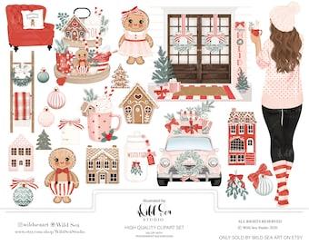Gingerbread Christmas Clipart Set, fashion girl, Holiday, gingerbread girl, gingerbread boy, girly holiday