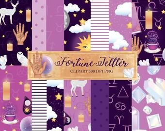 Fortune Teller Digital Paper set, Halloween, palm reading, astrology, crystals, planner