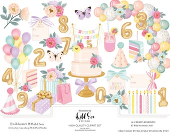 Birthday clipart set, printable art, pink and purple floral, planner girl, digital download