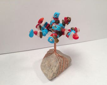 Bright Blue, Red, Pink, and Brown Wire Tree Sculpture