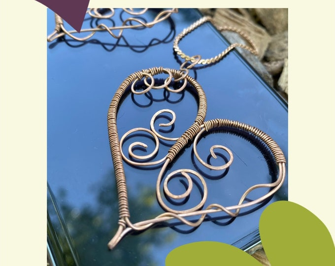 Boho heart necklace. Boho Dressy jewelry. Empath protection.  Bronze chain. Chain Bronze  Necklace, Wire heart pendant. Healing Jewelry. Luv