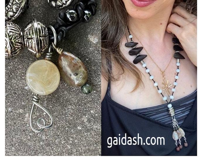 Ebony Necklace. Mixed  texture  necklace. Mixed media jewelry. Mixed media Jewelry set. Wood Petal Jewelry. Boho style summer jewelry