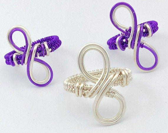 Meditation ring. Silver/Purple Copper Wire Wrap ring. Spiritual Jewelry. Infinity Ring. Infinity Wire Weaved Ring . Eternity Friendship Ring
