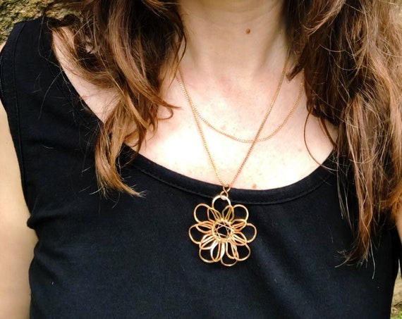 Flower of Life Sacred  Meditation Jewelry Necklace. Hammered Wire Weaved bare bronze - looks like red gold.  Mandala Flower Pendant.