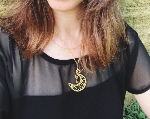 """Gold Plated  Jewelry Necklace """"Crescent Moon and a Star"""". Hammered Wire Weaved  with gold plated jewelry wire"""