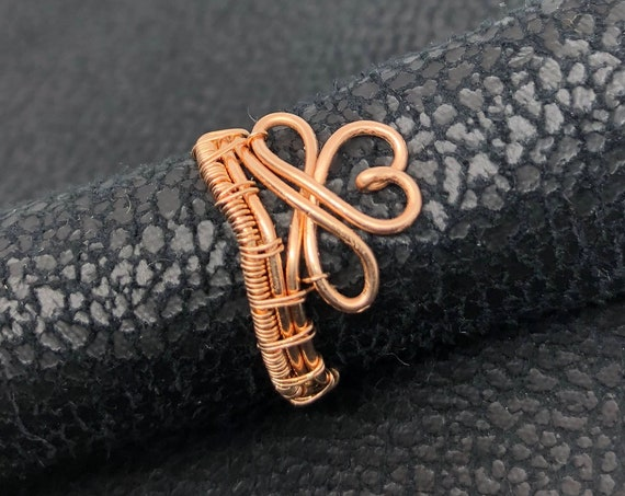 Bronze Infinity Heart Ring. Love/Friendship/ Heart Jewelry Ring. Bare bronze jewelry wire crown ring.