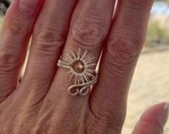 Mindfulness gift . Empath protection. Money amulet . Money spell. Obsession spell. Gratitude ring . Sun  charm ring.  Mandala ring