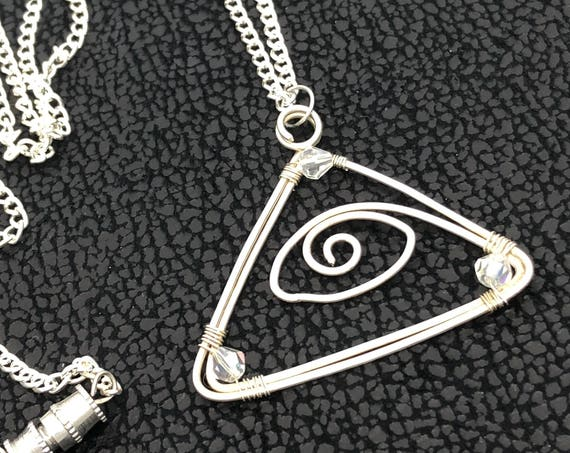 "Pyramid ""Eye of Horus"" sterling  silver wire charm pendant/ necklace, beaded  with reflective crystal beads."