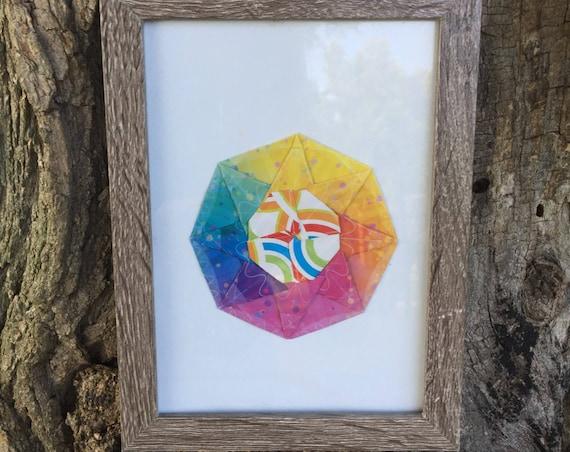 Origami mandala dimentional wall art decor,  rainbow  octagon / mandala art  3d picture home decoration