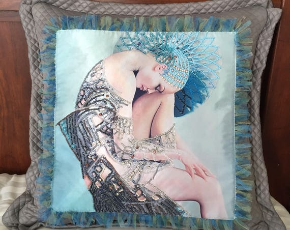Selena (Mythological Goddesses of the Moon)-Hand Embroidered with Beads and Rhinestones Spiritual Decorative Pillow
