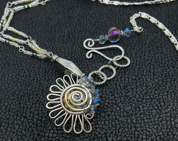 "Bohemian Spiral Abstract ""Sun"" necklace with a half circle of crystal beads.Suspension ""Ancient Sun"" wire jewelry pendant,Celestial Necklace"