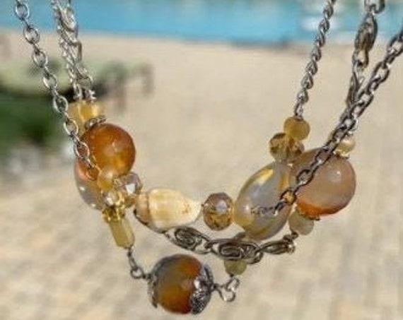 Sea shells  necklace, Seashells  Natural Stone Jewelry. Bohemian  Jewelry, Summer Bohemian  necklace, Hippy necklace. Wanderlust jewelry