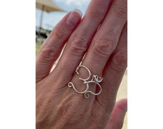 Mantra ring , Empath protection. Prosperety Jewelry , Om yoga ring. Wirewrapped jewelry. Mindfulness gift. Celtic ring. Viking ring.