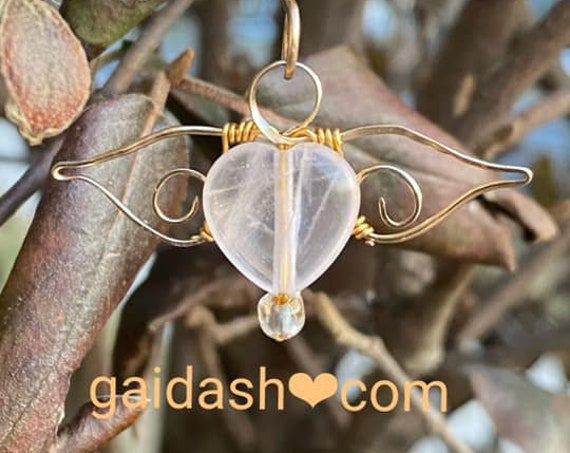 Angel wing necklace .  Wing Pendant .  Love Spell . Pink Quarts Necklace. love never fails . Chamuel Pendant. Stone necklace