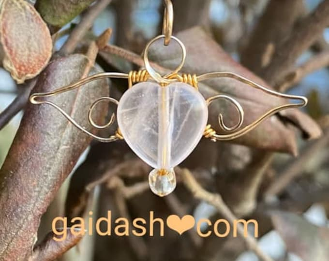 Angel wing necklace .  Wing Pendant .  Love Spell. Pink Quarts Necklace. love never fails. Chamuel Pendant. Stone necklace. Esoteric jewelry