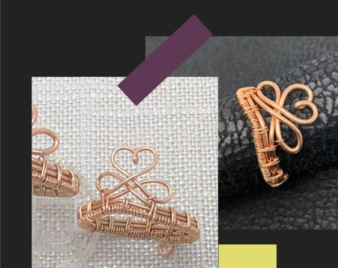 Bronze Infinity Ring. Wire crown ring. Crown Heart  ring. Crown Infinity  ring. Celtic Infinity  ring. Celtic heart ring. Goddess crown