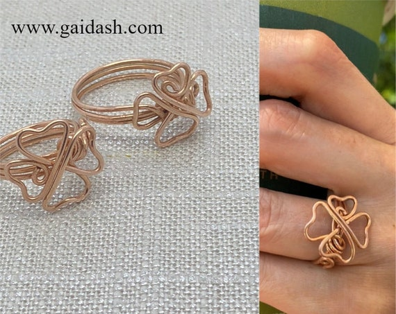 """Bronze Jewelry Wire """"Clover Lucky"""" Ring. Casual / Special Occasion  Accessory , Elegant Gift.  Bare Bronze Jewelry"""