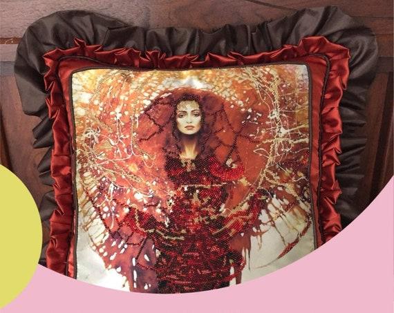 Silk pillowcase .Sun pillow . Pop of color pillows . Fire queen . Sun Goddess  . Beads Pillow ,Double Ruffled, Exclusive Home Decor Pillow
