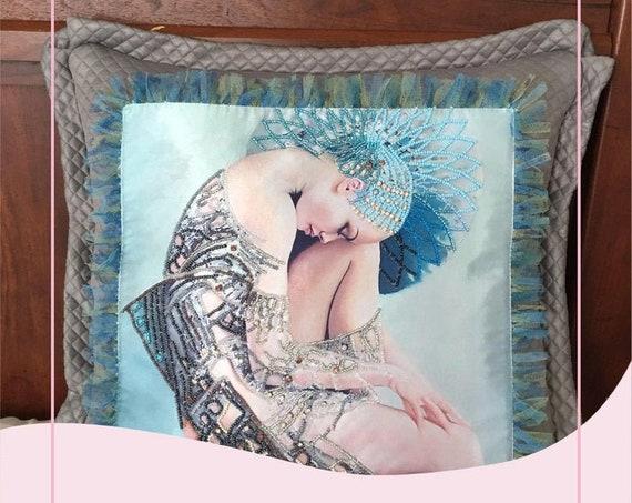 Silk pillow case . Crystal Pillow . Pop of color pillows.  Mindfulness gift.  Beads Pillow .Spiritual Decorative Pillow. Attraction.