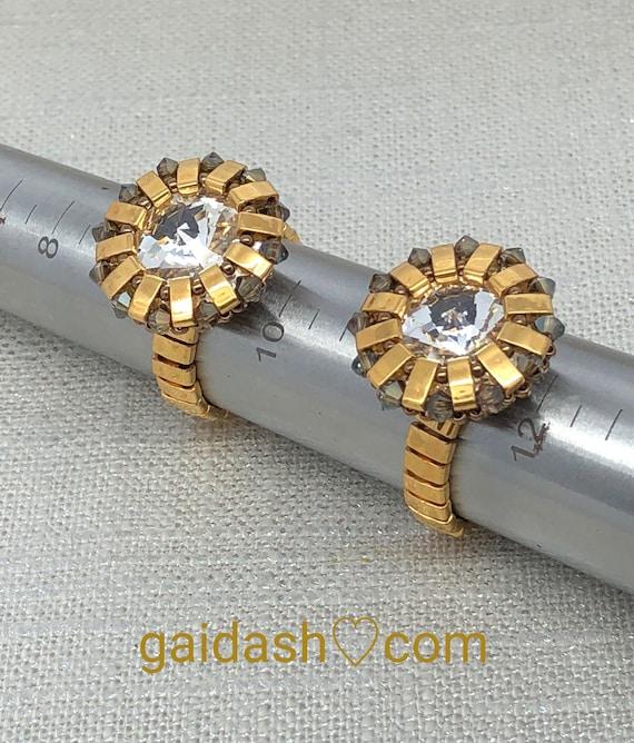 "Egyptian Style Swarovski Crystals Sun Jewelry Ring. Foiled  Rivoli ,Swarovski bicone beads , Golden Half Tila Beaded Jewelry Ring ""SunLight"""