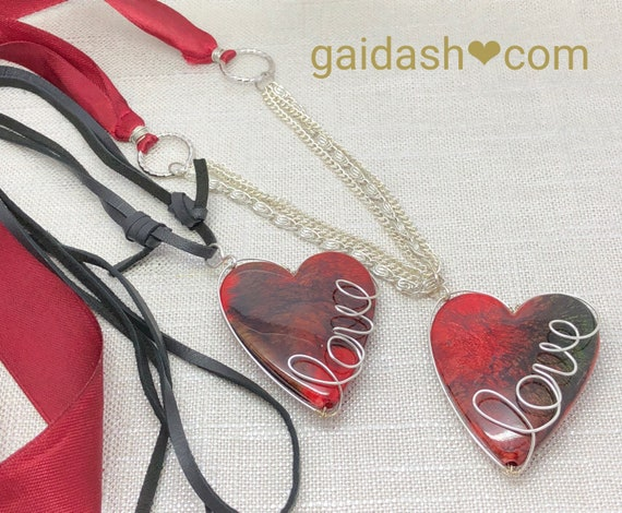 Bohemian Style Marble Heart Pendant. Love Fashion Jewelry  Necklace /Amulet /Charm.
