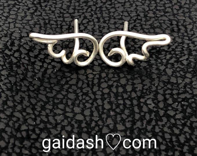 angel wing earrings.sterling silver WIRE wings,silver angel wire wings,wire wrap angel,holy angel silver, law of attraction art