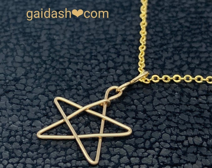 Star Pendant, Star Charm, Wire Wrapped Charm, 14 Karat Gold Plated Wire Charm, Gold plated Star Necklace with Brass Chain.