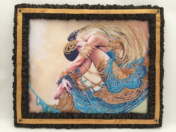 "Hand Embroidered with Beads & Rhingstones Picture ""Electra"" with Decorative Picture Frame,Mixed media,3D dimentional picture"
