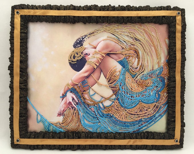Hand Embroidered Picture. Beads Picture . Decorative Picture Frame, Mixed media, Mixed media  picture. Mixed material picture.