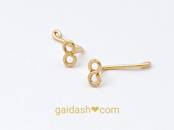 Tiny 14K Solid Gold Wire Jewelry Infinity nose screw / nose stud / nose ring