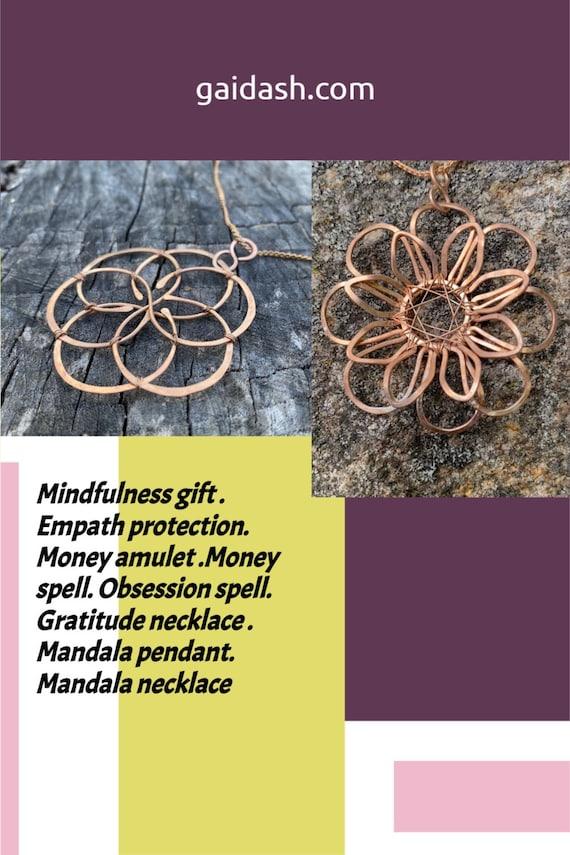 Mindfulness gift . Empath protection. Flower of life .Money spell. Obsession spell. Gratitude necklace . Mandala pendant. Mandala necklace