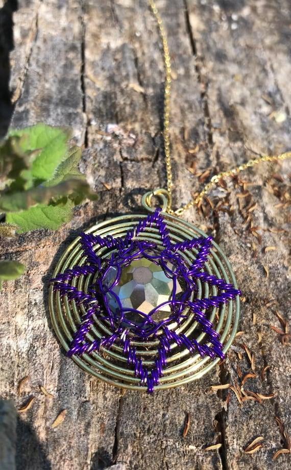 Mindfulness gift . Empath protection. Money amulet .Money spell. Obsession spell. Gratitude necklace . Mandala pendant. Sun Mandala . Boho