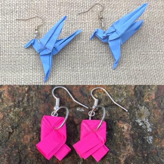 Pink Ribbon Origami earrings.Origami Jewelry.Paper Jewelry