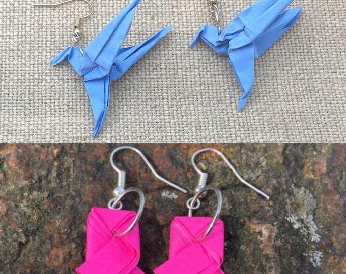 Low poly paper craft. Rook earrings.ribbon work,bird of prey,hummingbird jewelry,daith earring, rook earring, double sided earring,