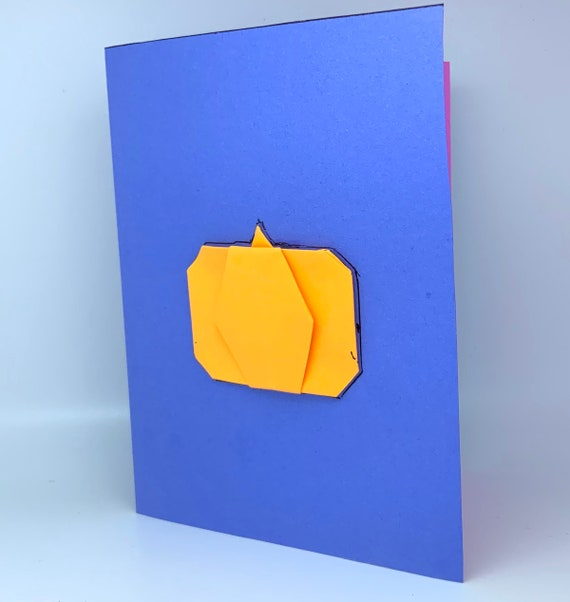 Minimalist customizable halloween, day of the dead, etc. origami greeting card with orange pumpkin