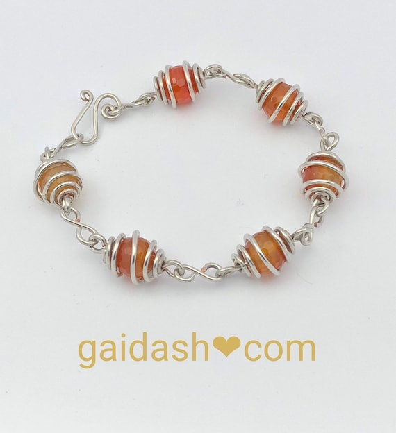 Natural faceted round carnelian gemstone bracelet.Shabby chic vintage inspired romantic jewelry.