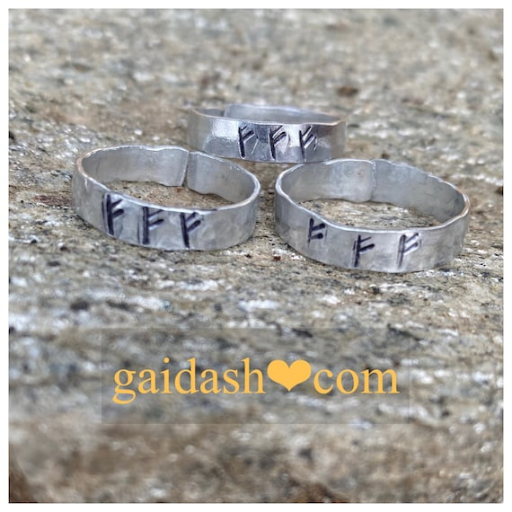 Triple FEHU jewelry ring ,  a powerful amulet for  prosperity, power, wealth, health, money, happiness .