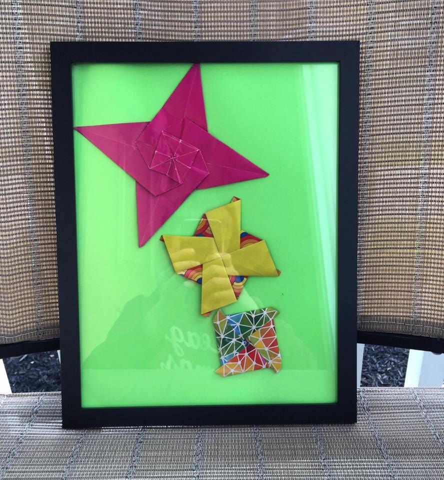 Origami Menkopattern Designs In Picture Framemixed Media 3d