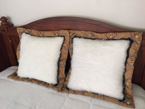 Wite Faux Fur, Poofy Cozy Pillow,Double Flanged,Multicolored(Beige,Blue,Red,Gold,Olive),Asian/African Style